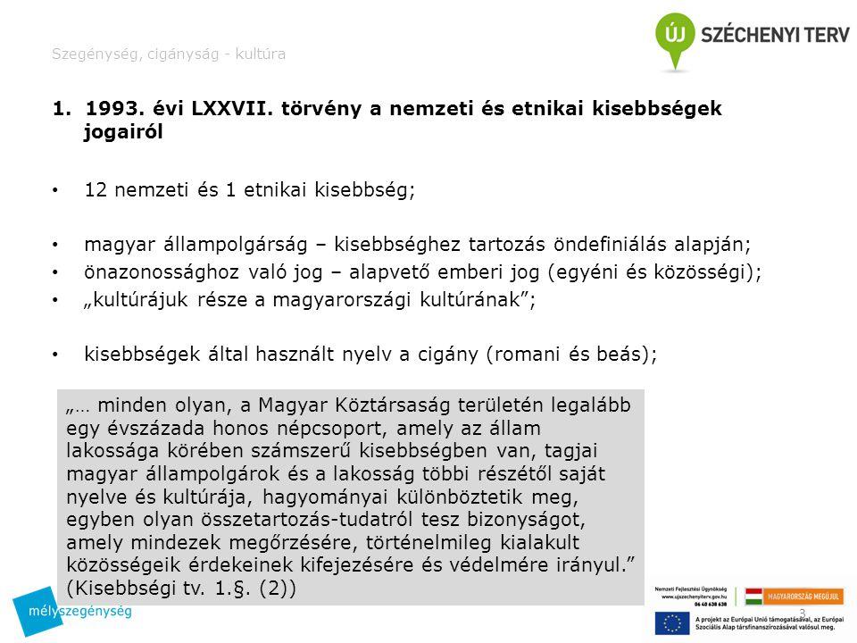 Szegénység, cigányság - kultúra 1. 1993. évi LXXVII.