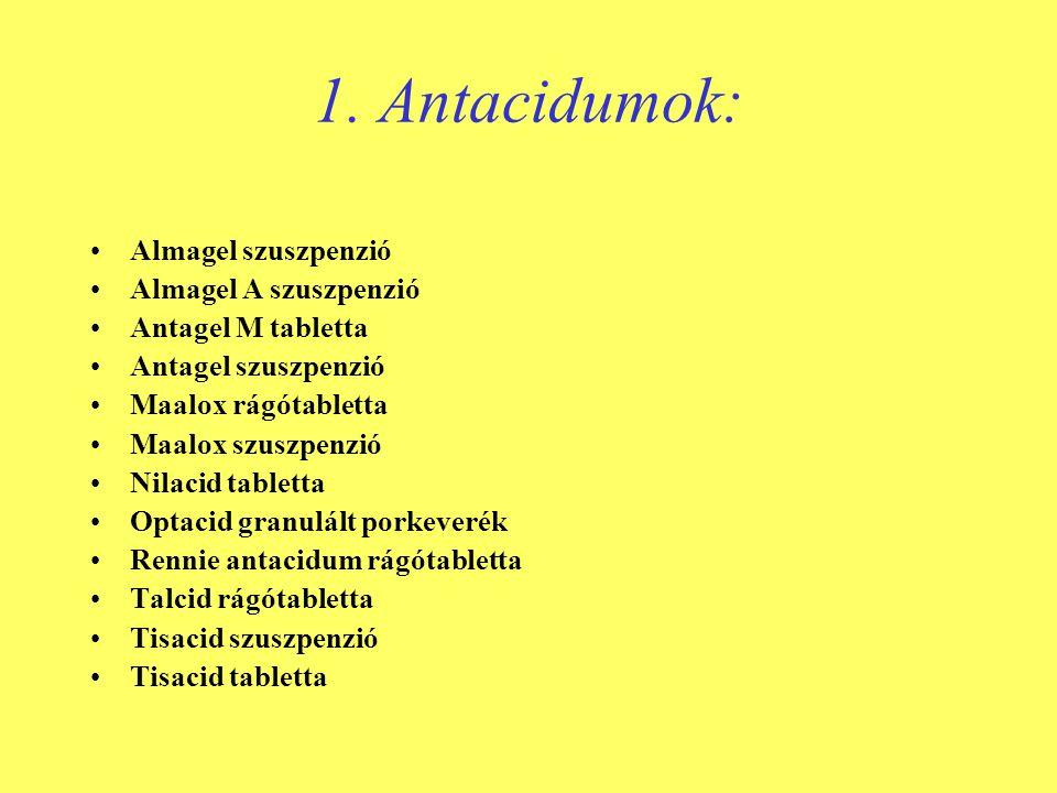 1. Antacidumok: •Almagel szuszpenzió •Almagel A szuszpenzió •Antagel M tabletta •Antagel szuszpenzió •Maalox rágótabletta •Maalox szuszpenzió •Nilacid