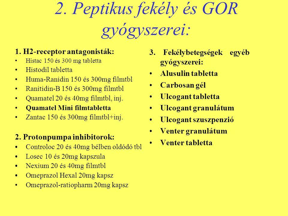 2. Peptikus fekély és GOR gyógyszerei: 1. H2-receptor antagonisták: •Histac 150 és 300 mg tabletta •Histodil tabletta •Huma-Ranidin 150 és 300mg filmt