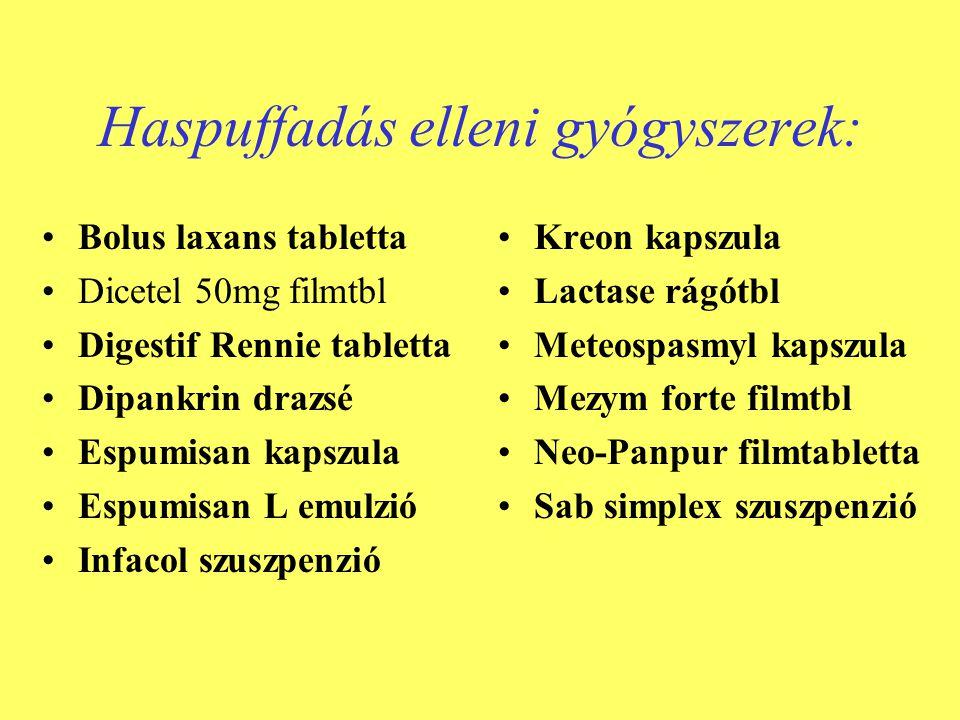 Haspuffadás elleni gyógyszerek: •Bolus laxans tabletta •Dicetel 50mg filmtbl •Digestif Rennie tabletta •Dipankrin drazsé •Espumisan kapszula •Espumisa