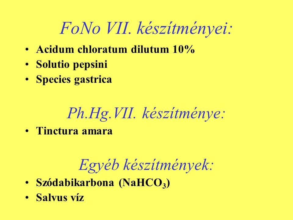 FoNo VII. készítményei: •Acidum chloratum dilutum 10% •Solutio pepsini •Species gastrica Ph.Hg.VII. készítménye: •Tinctura amara Egyéb készítmények: •