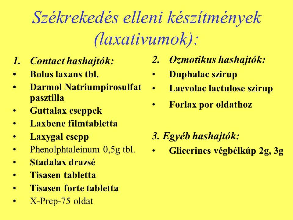 Székrekedés elleni készítmények (laxativumok): 1.Contact hashajtók: •Bolus laxans tbl. •Darmol Natriumpirosulfat pasztilla •Guttalax cseppek •Laxbene
