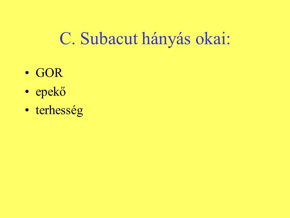 C. Subacut hányás okai: •GOR •epekő •terhesség
