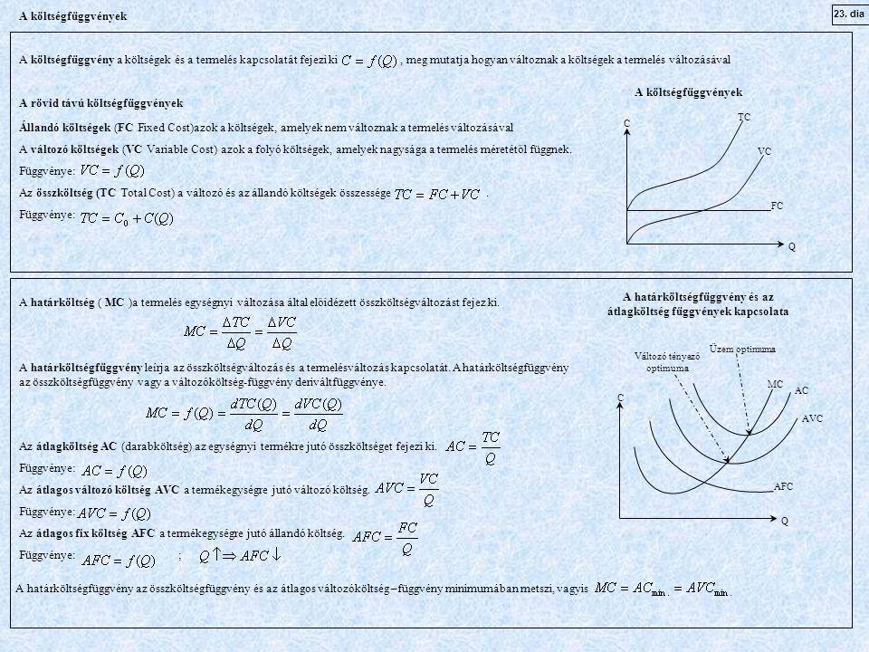 23. dia A költségfüggvények A költségfüggvény a költségek és a termelés kapcsolatát fejezi ki, meg mutatja hogyan változnak a költségek a termelés vál