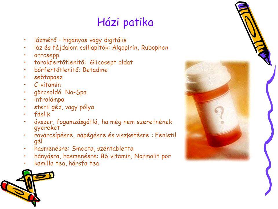Házi patika •lázmérő – higanyos vagy digitális •láz és fájdalom csillapítók: Algopirin, Rubophen •orrcsepp •torokfertőtlenítő: Glicosept oldat •bőrfer
