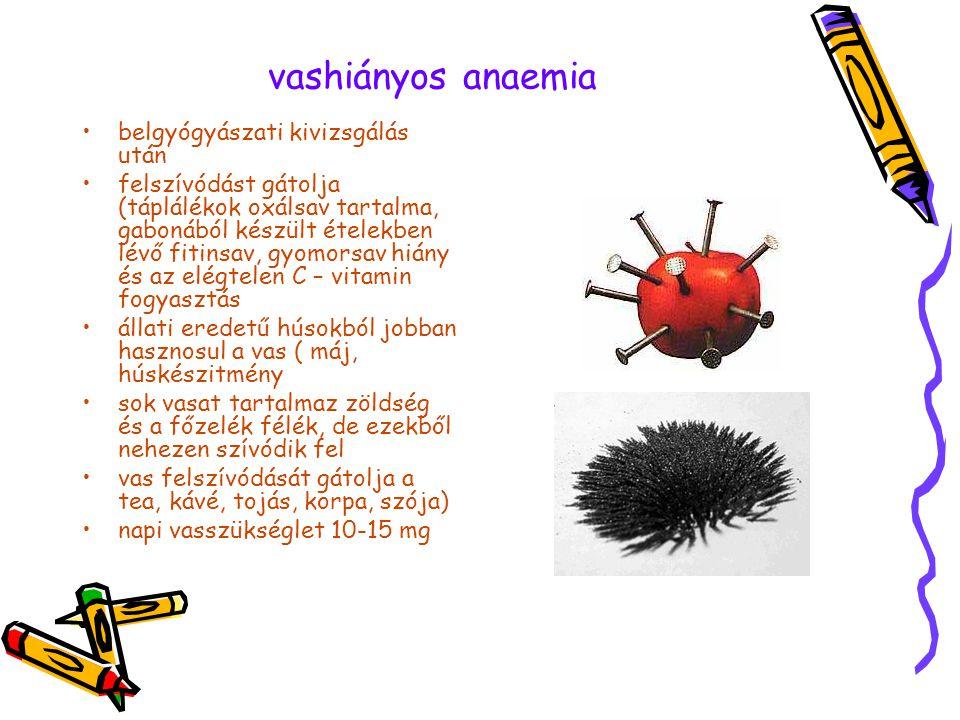 vashiányos anaemia •belgyógyászati kivizsgálás után •felszívódást gátolja (táplálékok oxálsav tartalma, gabonából készült ételekben lévő fitinsav, gyo