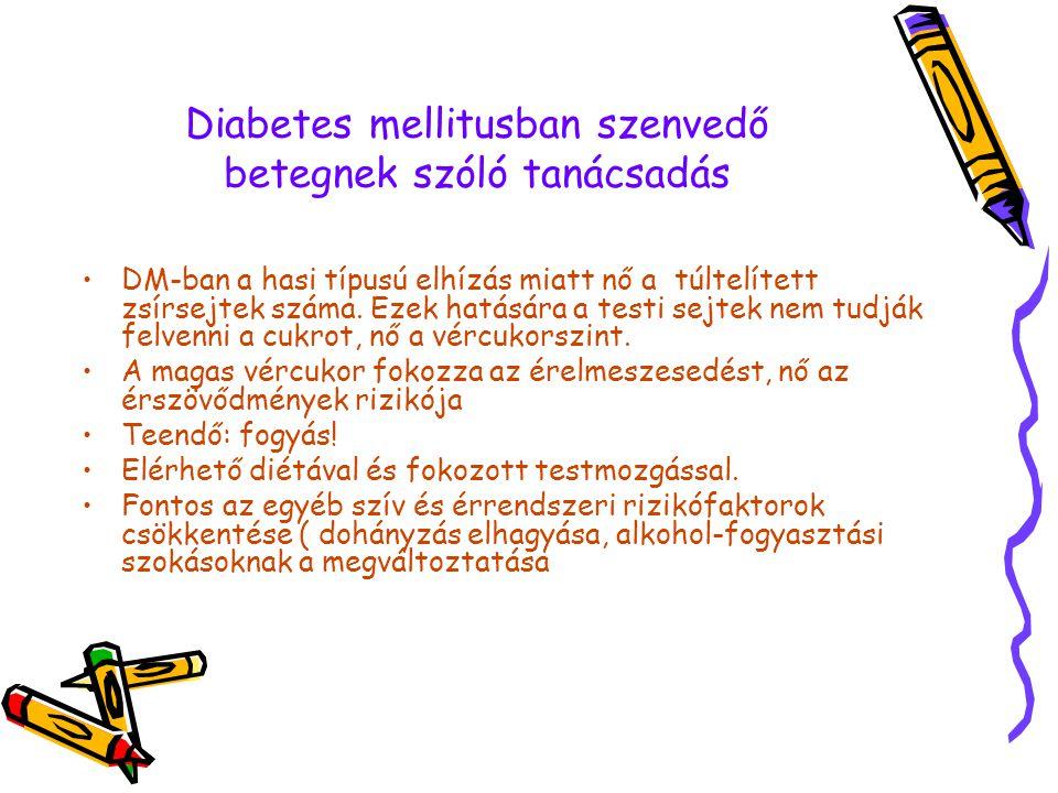 Diabetes mellitusban szenvedő betegnek szóló tanácsadás A diéta lényege: Meghatározott CH és energiatartalmú étrend, ( pl.140 g CH, 1200 Kcal ) napi ötszöri étkezésre elosztva 30-15-50-15-30 g CH Az étrend 50-55 % CH-t, 20 % fehérjét (max.