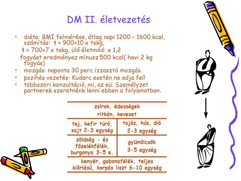 DM II. életvezetés zsírok, édességek ritkán, keveset tej, kefir túró, sajt 2-3 egység tojás, hús, dió 2-3 egység zöldség - és főzelékfélék, burgonya 3