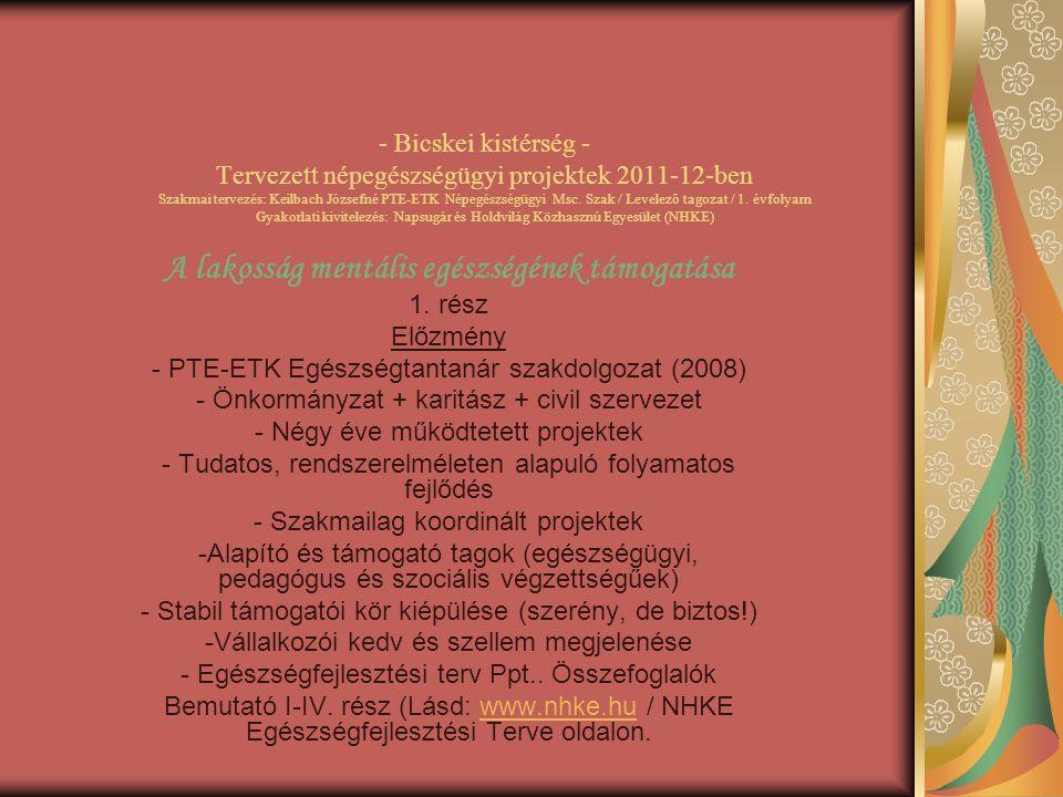 - Bicskei kistérség - Tervezett népegészségügyi projektek 2011-12-ben Szakmai tervezés: Keilbach Józsefné PTE-ETK Népegészségügyi Msc. Szak / Levelező