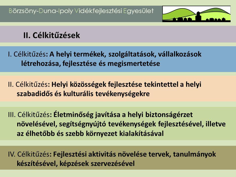 I. Célkitűzés: A helyi termékek, szolgáltatások, vállalkozások létrehozása, fejlesztése és megismertetése II. Célkitűzés: Helyi közösségek fejlesztése
