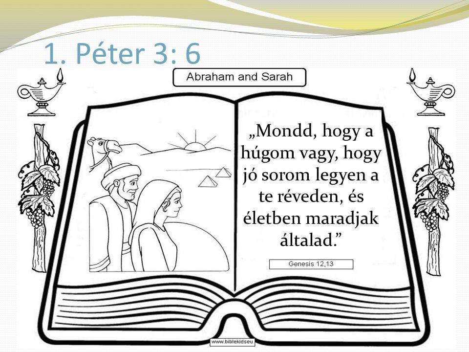"""1. Péter 3: 6 """"Mondd, hogy a húgom vagy, hogy jó sorom legyen a te réveden, és életben maradjak általad."""""""