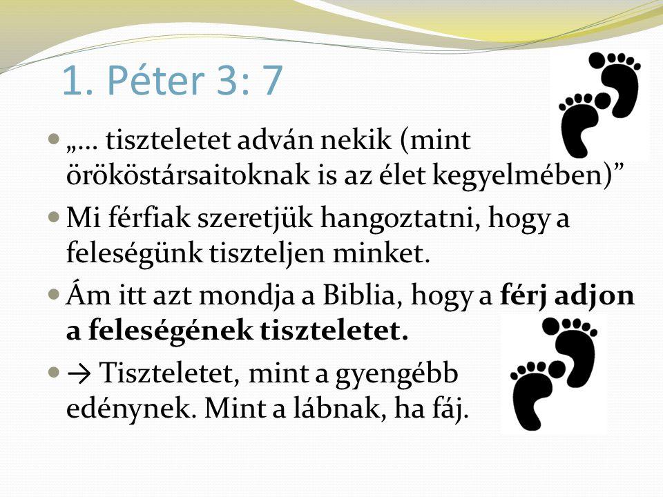 """1. Péter 3: 7  """"… tiszteletet adván nekik (mint örököstársaitoknak is az élet kegyelmében)""""  Mi férfiak szeretjük hangoztatni, hogy a feleségünk tis"""
