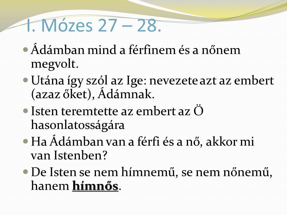 I. Mózes 27 – 28.  Ádámban mind a férfinem és a nőnem megvolt.  Utána így szól az Ige: nevezete azt az embert (azaz őket), Ádámnak.  Isten teremtet