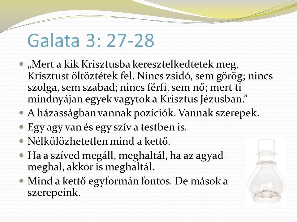 """Galata 3: 27-28  """"Mert a kik Krisztusba keresztelkedtetek meg, Krisztust öltöztétek fel. Nincs zsidó, sem görög; nincs szolga, sem szabad; nincs férf"""