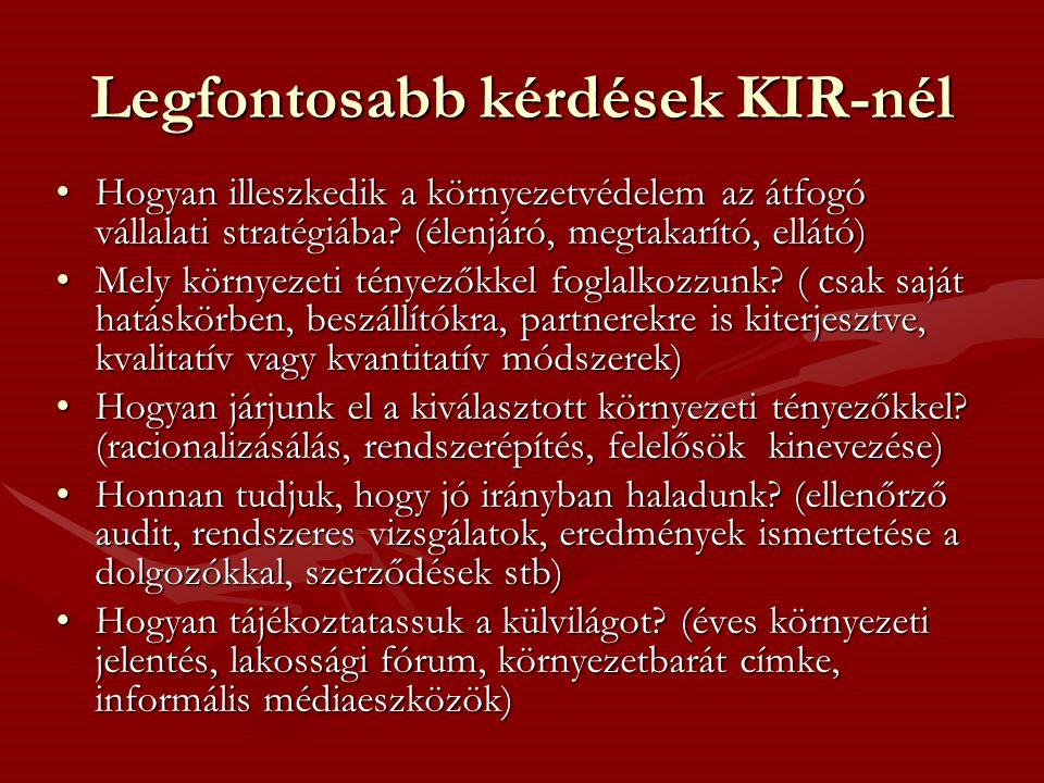 Legfontosabb kérdések KIR-nél •Hogyan illeszkedik a környezetvédelem az átfogó vállalati stratégiába.