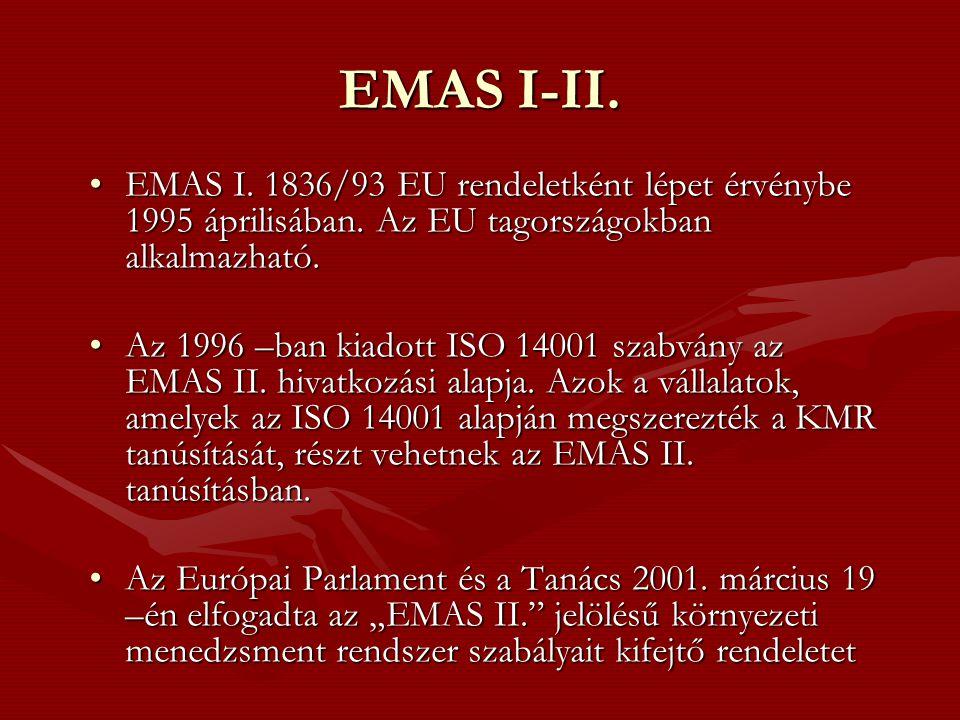 EMAS I-II.•EMAS I. 1836/93 EU rendeletként lépet érvénybe 1995 áprilisában.