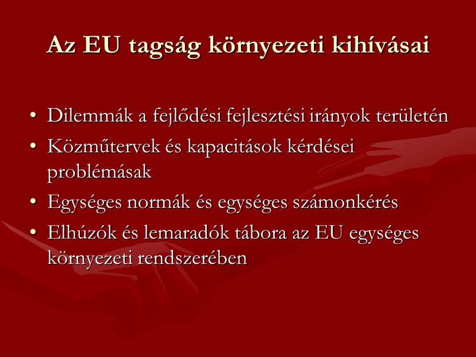 Az EU tagság környezeti kihívásai •Dilemmák a fejlődési fejlesztési irányok területén •Közműtervek és kapacitások kérdései problémásak •Egységes normák és egységes számonkérés •Elhúzók és lemaradók tábora az EU egységes környezeti rendszerében