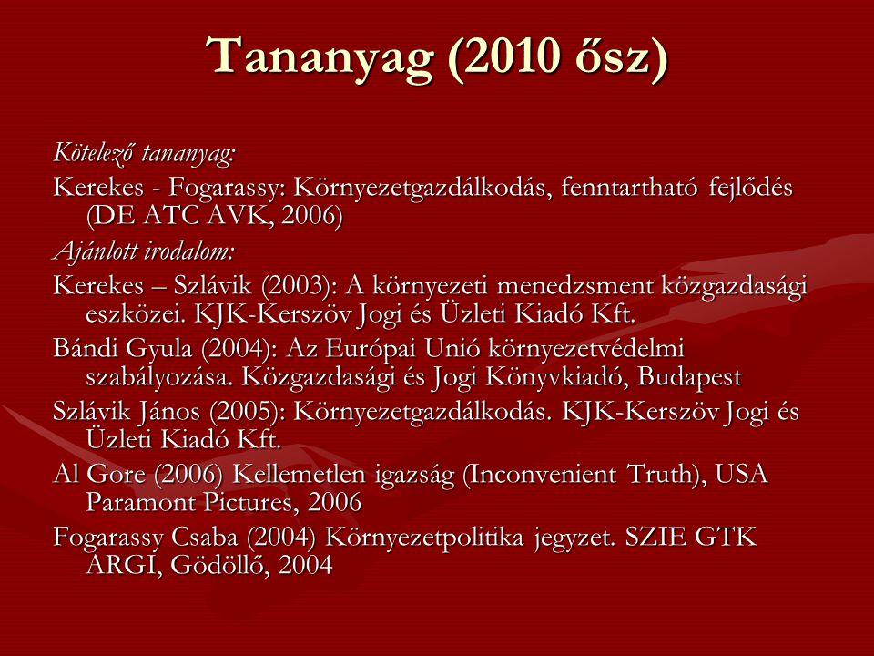 Tananyag (2010 ősz) Kötelező tananyag: Kerekes - Fogarassy: Környezetgazdálkodás, fenntartható fejlődés (DE ATC AVK, 2006) Ajánlott irodalom: Kerekes – Szlávik (2003): A környezeti menedzsment közgazdasági eszközei.