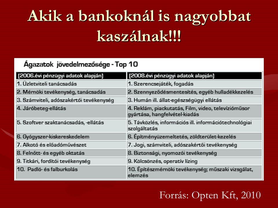 Akik a bankoknál is nagyobbat kaszálnak!!! Forrás: Opten Kft, 2010