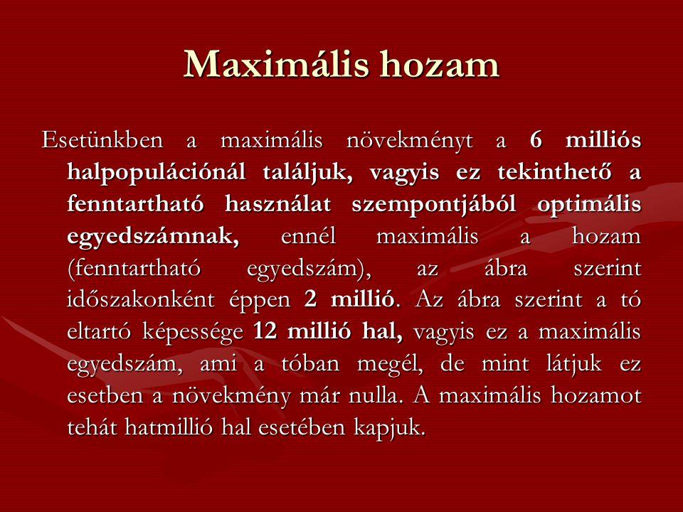 Maximális hozam Esetünkben a maximális növekményt a 6 milliós halpopulációnál találjuk, vagyis ez tekinthető a fenntartható használat szempontjából optimális egyedszámnak, ennél maximális a hozam (fenntartható egyedszám), az ábra szerint időszakonként éppen 2 millió.