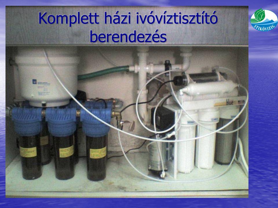 Házi víztisztító berendezés: G25 típusú fordított ozmózisos technológiájú – vastalanító és arzénmentesítő tartállyal, valamint UV lámpával kiegészített technológia – egyedi víztisztító berendezés Részei: – QV3 típusú háromtöltetes víztisztító és vastalanító 3 db 10 -os szűrőház sorba kapcsolva, teljesítmény 4 l/min, a szűrőtöltetek élettartama 8 000 l – QA3 típusú háromtöltetes víztisztító és arzénmentesítő 3 db 10 -os szűrőház sorba kapcsolva, teljesítmény 4 l/min, a szűrőtöltetek élettartama 20-30 000 l G25 típusú házi ivóvíztisztító berendezés szűrési teljesítménye: 10 l/h részei: 5 rétegű szűrőrendszer, 12 l-es speciális tartály, Nyomásfokozó szivattyú, Elektromos vezérlés, UV lámpa