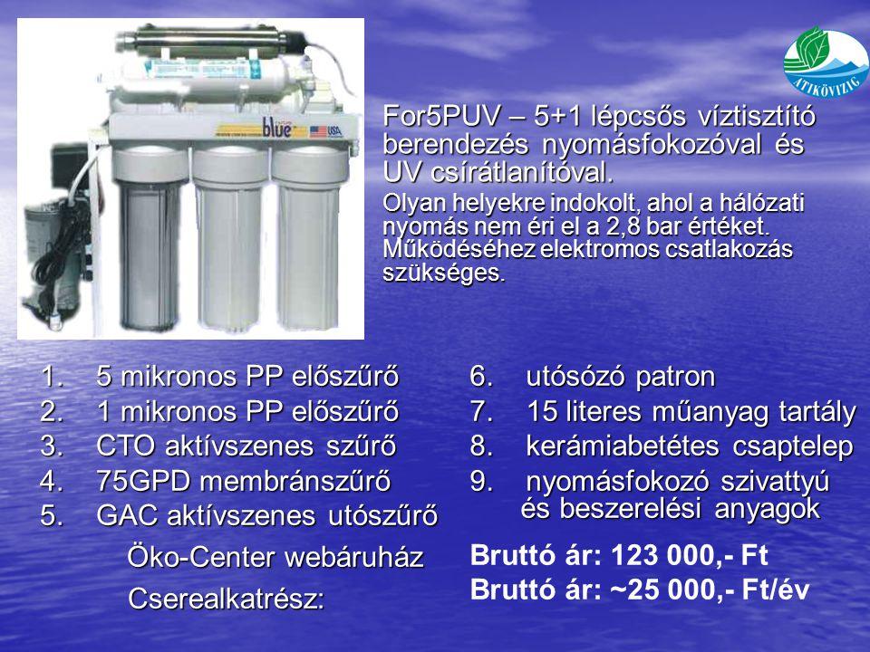 For5PUV – 5+1 lépcsős víztisztító berendezés nyomásfokozóval és UV csírátlanítóval.