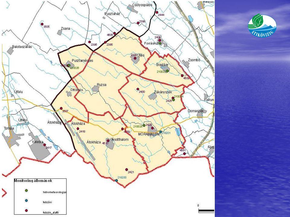 Monitoring központ (Mórahalom) Meteorológia kert : Pusztamérges, polgármesteri hivatal udvara Mért paraméterek: talajnedvesség (20, 50 és 100 cm mélységben), talajhőmérséklet (2, 5, 10, 20, 30, 40, 50, 60, 70, 80 cm mélységben), léghő,légnedvesség,csapadék.