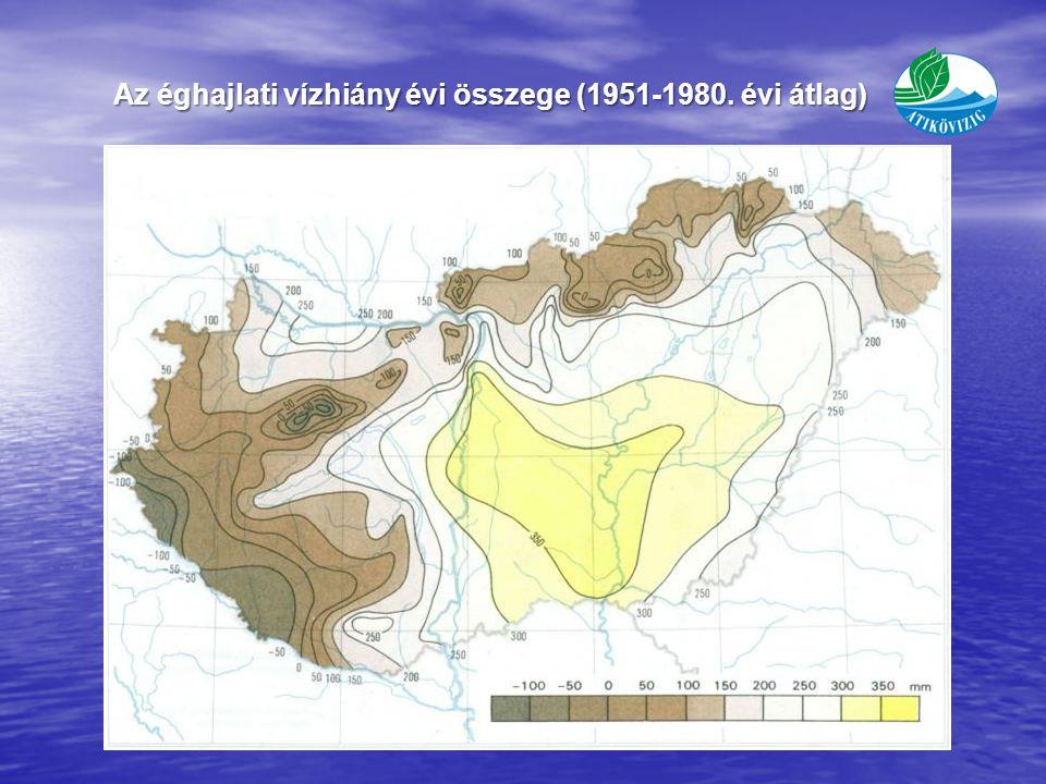Az éghajlati vízhiány évi összege (1951-1980. évi átlag)