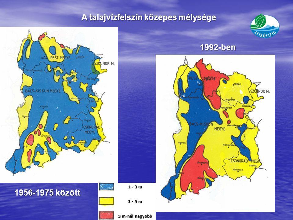 1 - 3 m 3 - 5 m 5 m-nél nagyobb A talajvízfelszín közepes mélysége 1992-ben 1956-1975 között