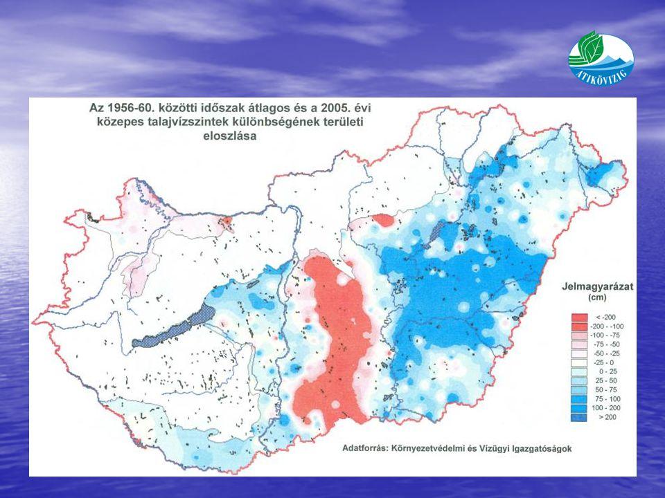 A talajvízszint-süllyedés területi eloszlása Okok: - Időjárás változás >50 % (Pálfai Imre) - Területhasználat változása - Vízkitermelés - Erdősültség változása - Szénhidrogén kitermelés - Vízrendezés