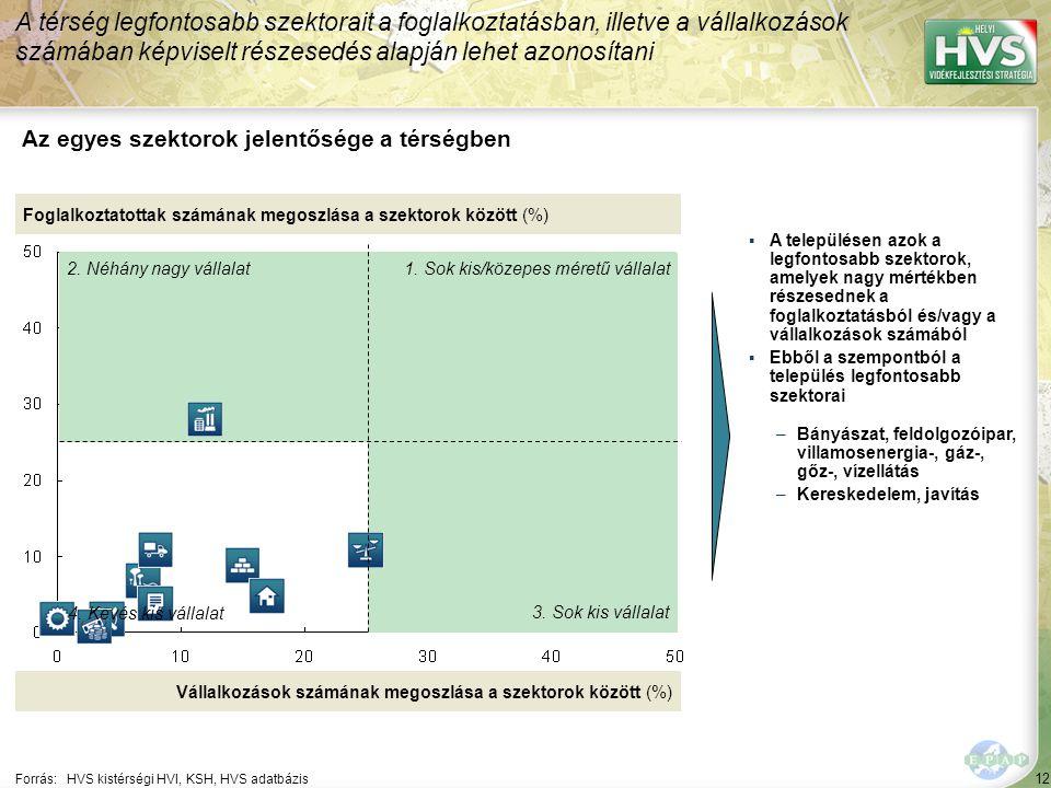12 Forrás:HVS kistérségi HVI, KSH, HVS adatbázis Az egyes szektorok jelentősége a térségben A térség legfontosabb szektorait a foglalkoztatásban, illetve a vállalkozások számában képviselt részesedés alapján lehet azonosítani Foglalkoztatottak számának megoszlása a szektorok között (%) Vállalkozások számának megoszlása a szektorok között (%) ▪A településen azok a legfontosabb szektorok, amelyek nagy mértékben részesednek a foglalkoztatásból és/vagy a vállalkozások számából ▪Ebből a szempontból a település legfontosabb szektorai –Bányászat, feldolgozóipar, villamosenergia-, gáz-, gőz-, vízellátás –Kereskedelem, javítás 1.