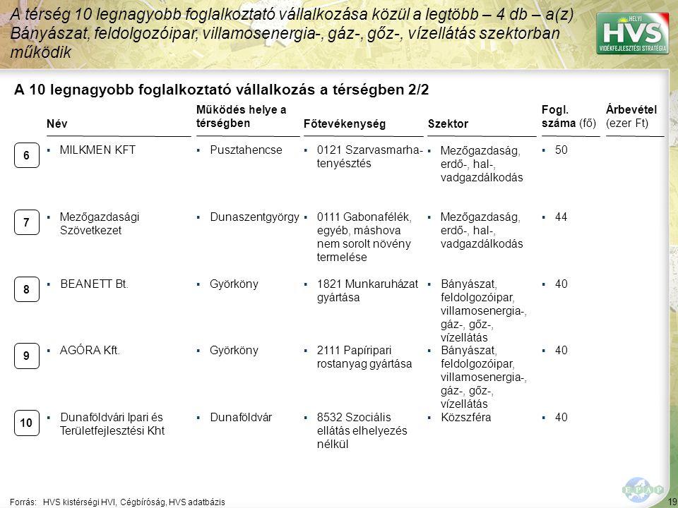 19 Forrás:HVS kistérségi HVI, Cégbíróság, HVS adatbázis A 10 legnagyobb foglalkoztató vállalkozás a térségben 2/2 Szektor Fogl. száma (fő) Árbevétel (