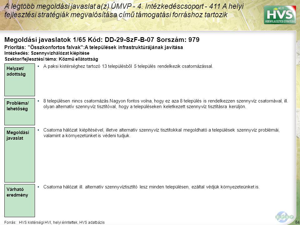 84 Forrás:HVS kistérségi HVI, helyi érintettek, HVS adatbázis Megoldási javaslatok 1/65 Kód: DD-29-SzF-B-07 Sorszám: 979 A legtöbb megoldási javaslat a(z) ÚMVP - 4.