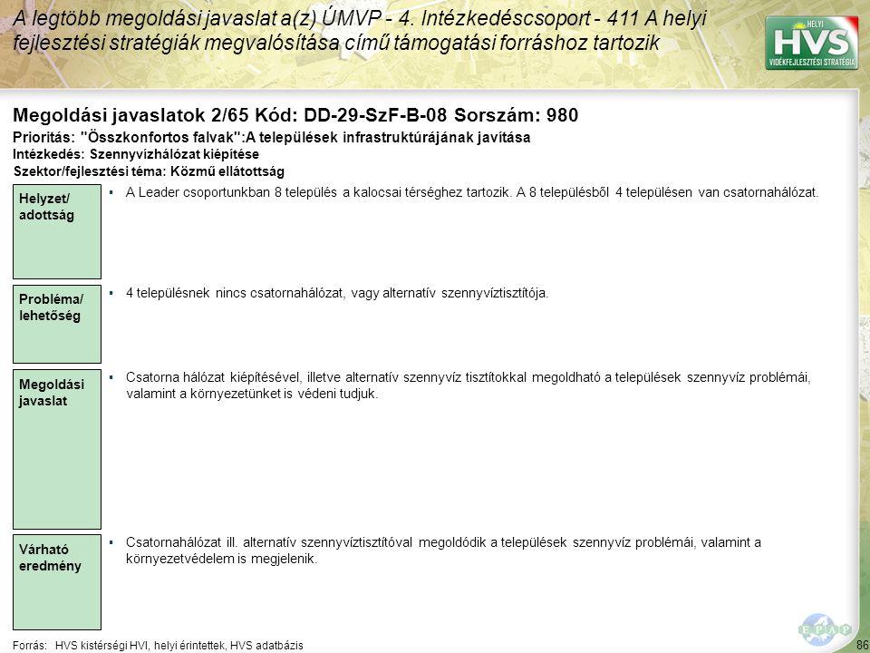 86 Forrás:HVS kistérségi HVI, helyi érintettek, HVS adatbázis Megoldási javaslatok 2/65 Kód: DD-29-SzF-B-08 Sorszám: 980 A legtöbb megoldási javaslat a(z) ÚMVP - 4.