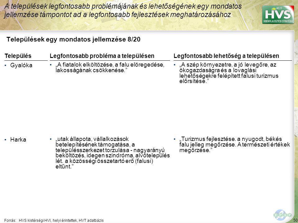 50 Települések egy mondatos jellemzése 8/20 A települések legfontosabb problémájának és lehetőségének egy mondatos jellemzése támpontot ad a legfontos