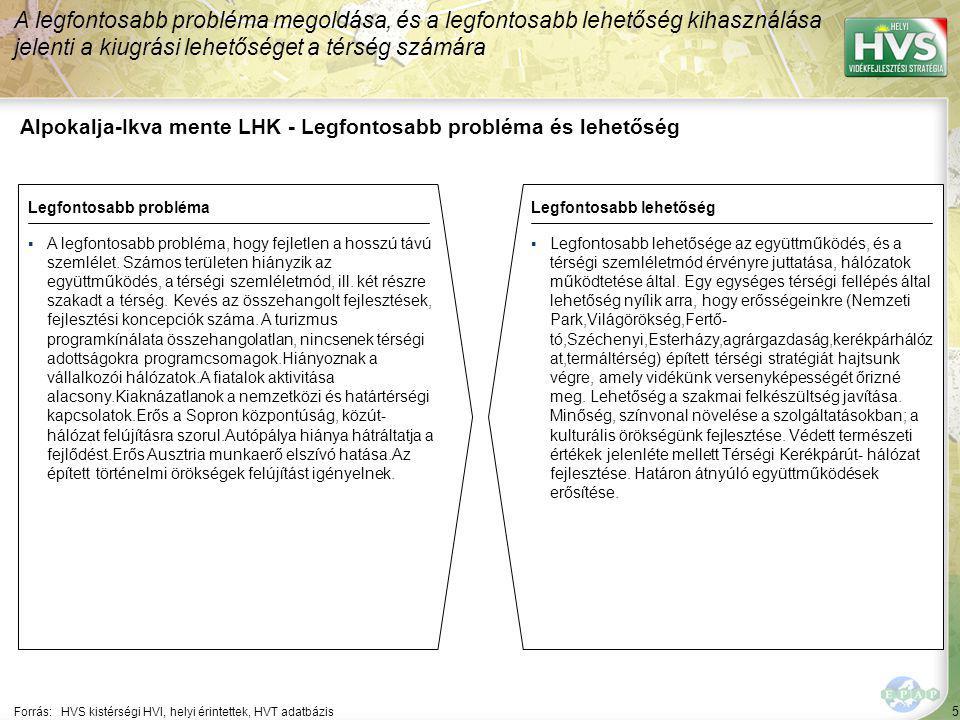 5 Alpokalja-Ikva mente LHK - Legfontosabb probléma és lehetőség A legfontosabb probléma megoldása, és a legfontosabb lehetőség kihasználása jelenti a