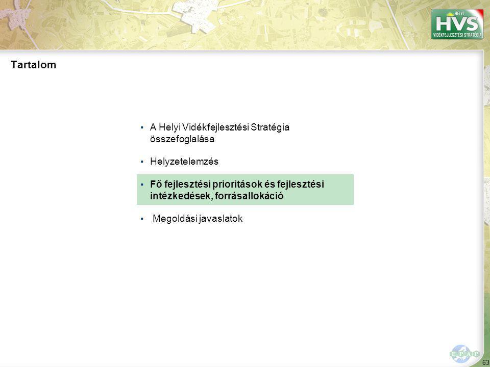 63 Tartalom ▪A Helyi Vidékfejlesztési Stratégia összefoglalása ▪Helyzetelemzés ▪Fő fejlesztési prioritások és fejlesztési intézkedések, forrásallokáció ▪ Megoldási javaslatok