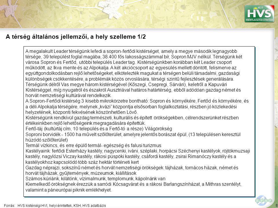 8 A megalakult Leader térségünk lefedi a sopron-fertődi kistérséget, amely a megye második legnagyobb térsége, 39 települést foglal magába, 38.400 fős lakosságszámmal bír, Sopron MJV nélkül.