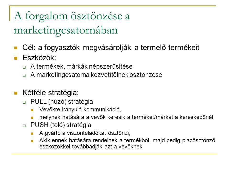 A forgalom ösztönzése a marketingcsatornában  Cél: a fogyasztók megvásárolják a termelő termékeit  Eszközök:  A termékek, márkák népszerűsítése  A