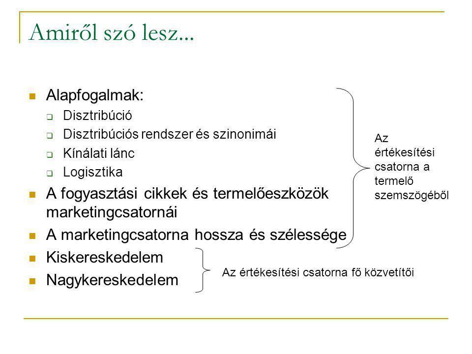 kereskedő A disztribúciós csatorna hossza A fogyasztási javak termelői fogyasztó ügynök kiskereskedő A termelőeszközök termelői felhasználó ügynök vagy bróker nagy- kereskedő 0121012321