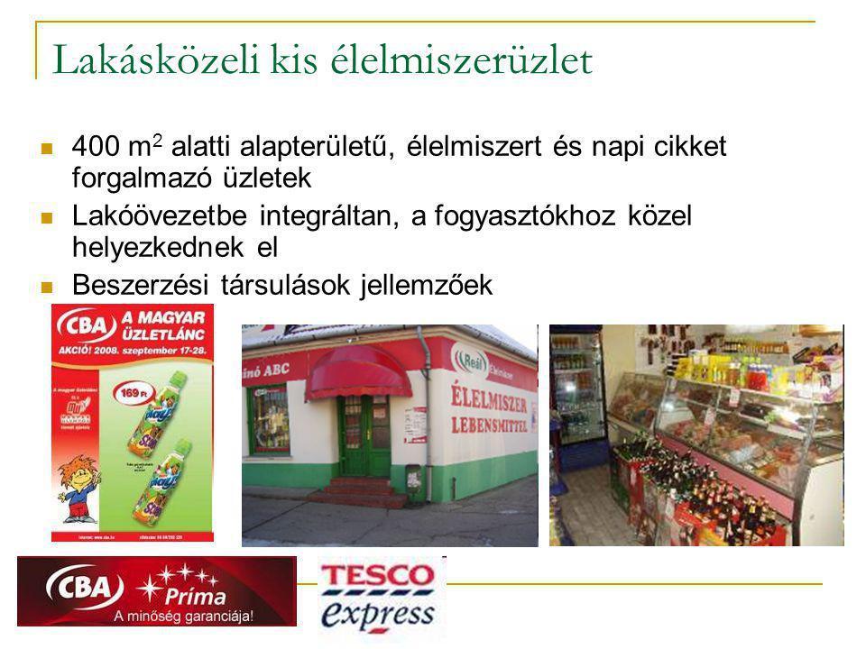 Lakásközeli kis élelmiszerüzlet  400 m 2 alatti alapterületű, élelmiszert és napi cikket forgalmazó üzletek  Lakóövezetbe integráltan, a fogyasztókh