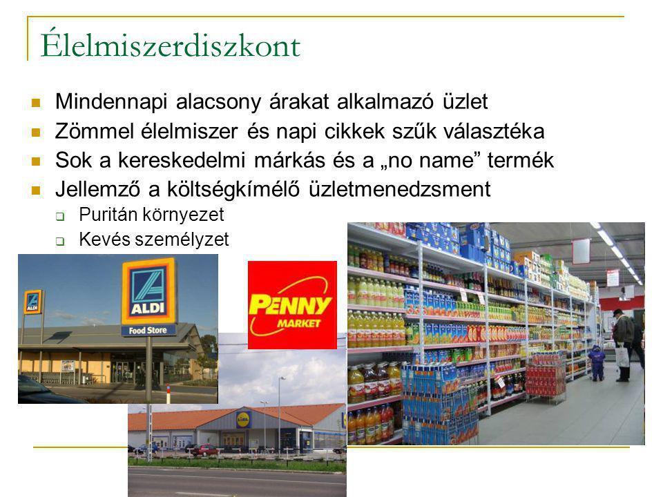 """Élelmiszerdiszkont  Mindennapi alacsony árakat alkalmazó üzlet  Zömmel élelmiszer és napi cikkek szűk választéka  Sok a kereskedelmi márkás és a """"n"""