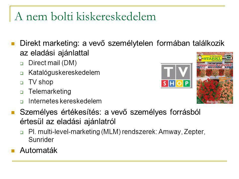 A nem bolti kiskereskedelem  Direkt marketing: a vevő személytelen formában találkozik az eladási ajánlattal  Direct mail (DM)  Katalóguskereskedel