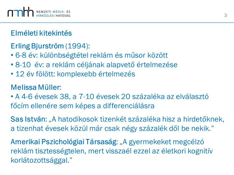 3 Elméleti kitekintés Erling Bjurström (1994): • 6-8 év: különbségtétel reklám és műsor között • 8-10 év: a reklám céljának alapvető értelmezése • 12