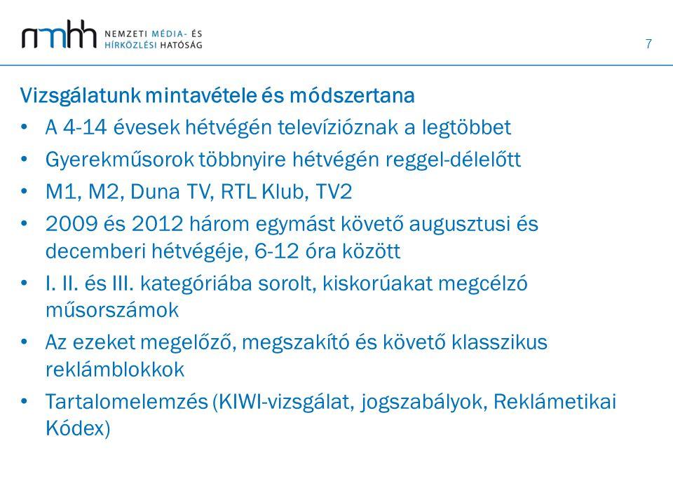 7 • A 4-14 évesek hétvégén televízióznak a legtöbbet • Gyerekműsorok többnyire hétvégén reggel-délelőtt • M1, M2, Duna TV, RTL Klub, TV2 • 2009 és 201