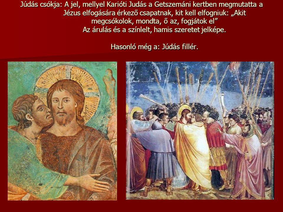 """Júdás csókja: A jel, mellyel Karióti Judás a Getszemáni kertben megmutatta a Jézus elfogására érkező csapatnak, kit kell elfogniuk: """"Akit megcsókolok,"""