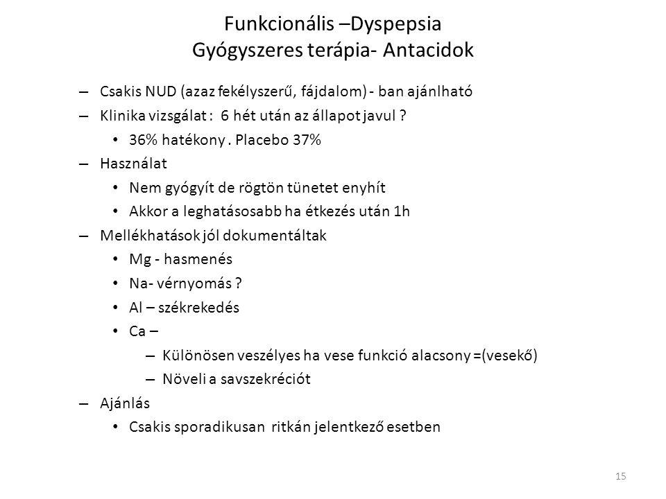 Funkcionális –Dyspepsia Gyógyszeres terápia- Antacidok – Csakis NUD (azaz fekélyszerű, fájdalom) - ban ajánlható – Klinika vizsgálat : 6 hét után az á