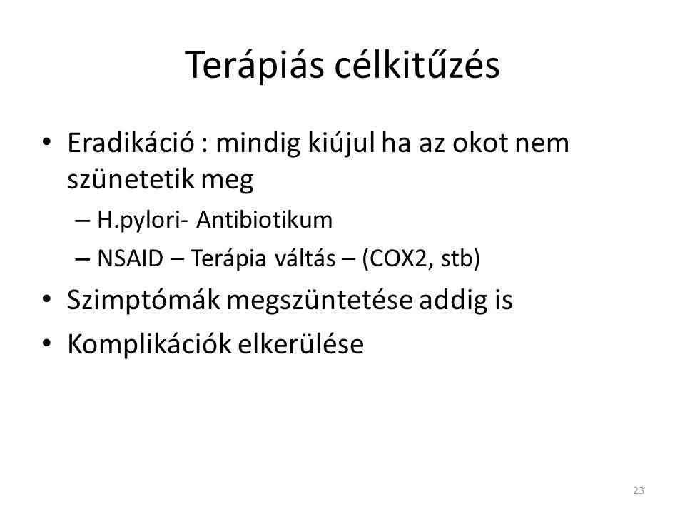Terápiás célkitűzés • Eradikáció : mindig kiújul ha az okot nem szünetetik meg – H.pylori- Antibiotikum – NSAID – Terápia váltás – (COX2, stb) • Szimp