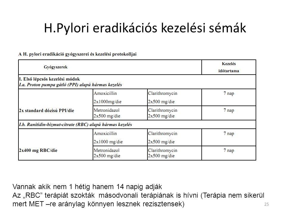 """H.Pylori eradikációs kezelési sémák 25 Vannak akik nem 1 hétig hanem 14 napig adják Az """"RBC"""" terápiát szokták másodvonali terápiának is hívni (Terápia"""