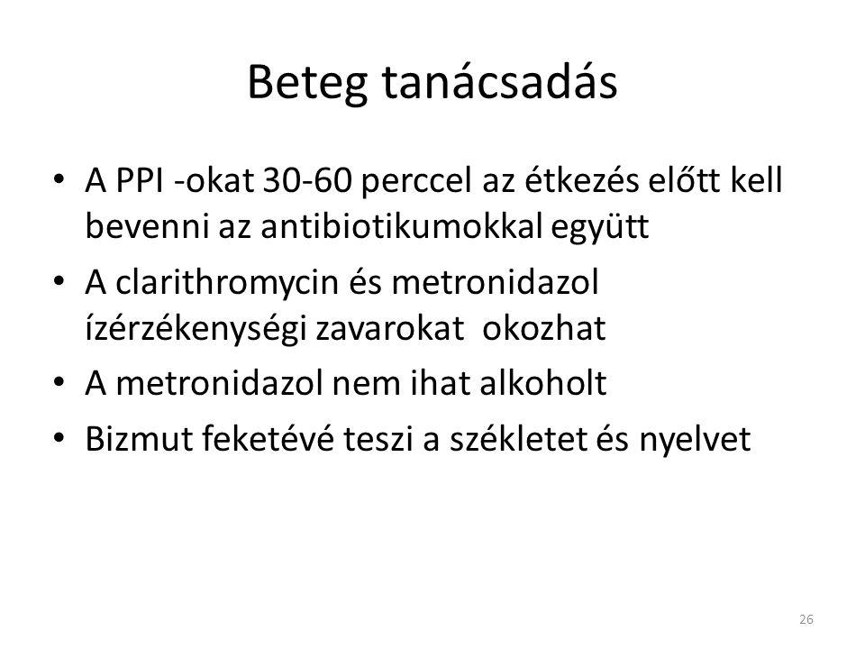 Beteg tanácsadás • A PPI -okat 30-60 perccel az étkezés előtt kell bevenni az antibiotikumokkal együtt • A clarithromycin és metronidazol ízérzékenysé